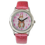 cute brown Bunny with pretty flowers illustration Watches