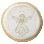 Golden Filigree Christmas Angel of Grace Round Premium Shortbread Cookie