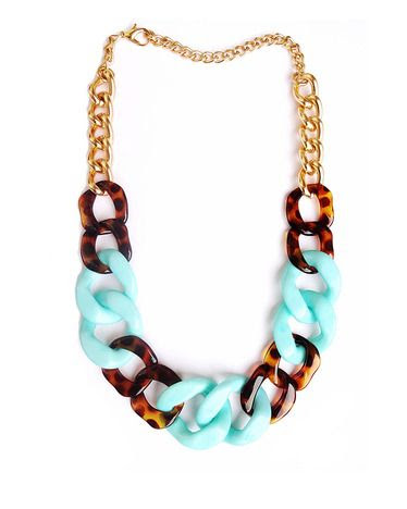mint + tortoise chain necklace