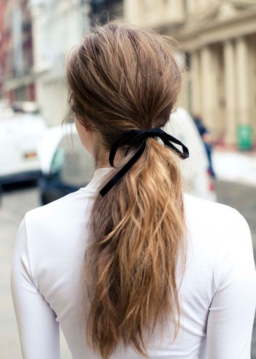 Le Fashion Blog Hair Tutorial Black Ribbon Wrapped Around Wavy Ponytail White Mock Neck Turtleneck Top Via The Coveteur