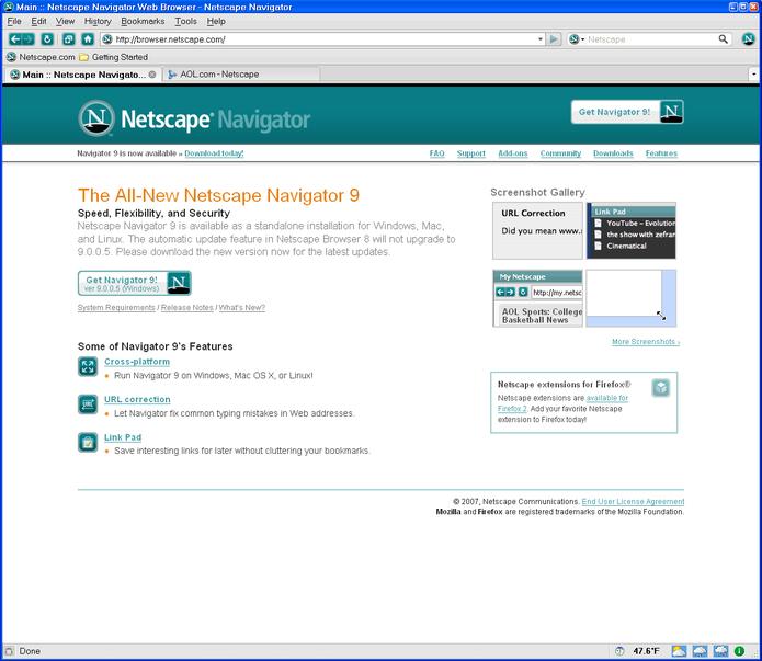 O navegador Netscape foi um dos pioneiros no serviço (Foto: Divulgação/ Netscape) (Foto: O navegador Netscape foi um dos pioneiros no serviço (Foto: Divulgação/ Netscape))