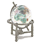"Kalifano 3"" Gemstone Globe with Opal Opalite Ocean with Antique Silver Nautical 3-Leg Stand"