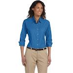 Devon & Jones DP625W Ladies' Perfect Fit Three-Quarter Sleeve Stretch Poplin Blouse - French Blue