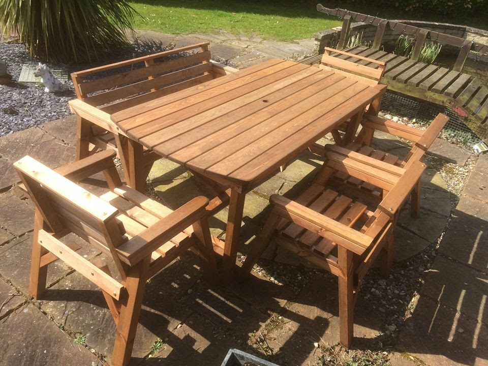 NEW Solid Wooden Garden Patio Furniture 6 ft table 1 Bench ...