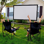 "TheLAShop 100"" 16:9 Portable Outdoor Projector Screen w/ Frame Freestanding Bag"