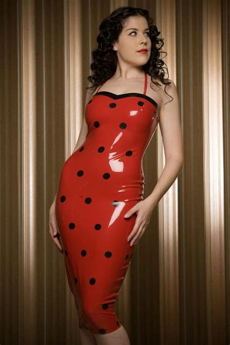 Dita Von Tesse red polka dot latex dress on Storenvy
