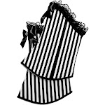 Womens Steampunk Stripped Mystery Circus Performer Boot Tops With Bows & Lace
