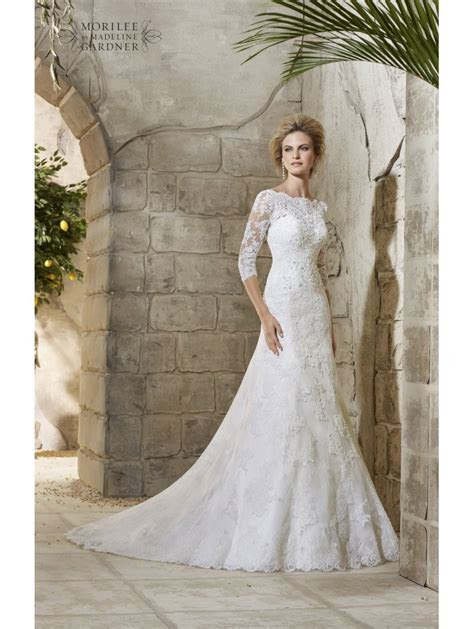 Mori Lee 2776 Allover Ivory Lace Wedding Gown With Sleeves
