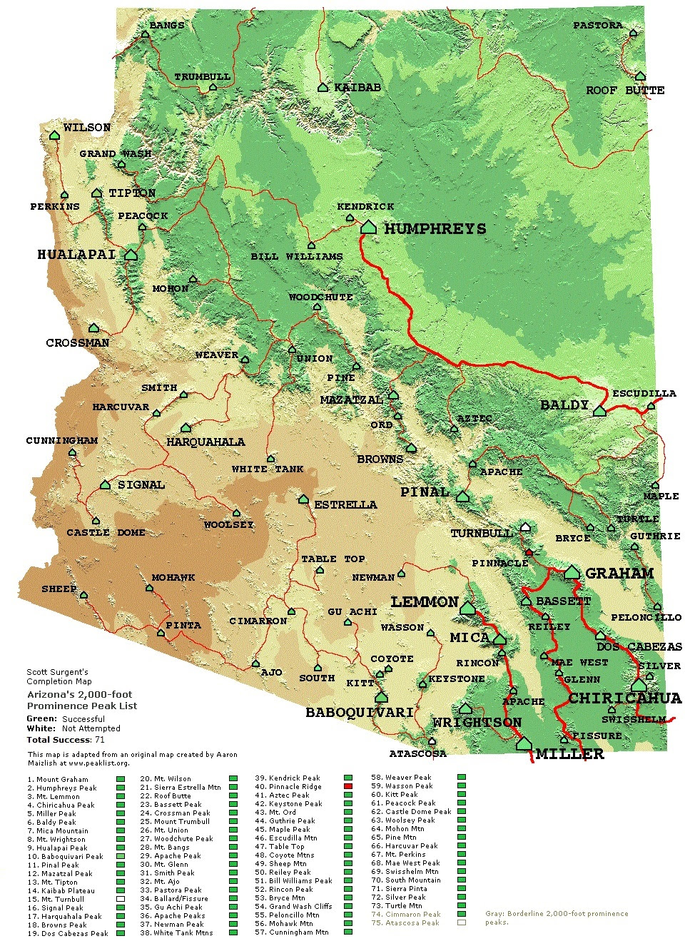 Mountains In Arizona Map | Map North East