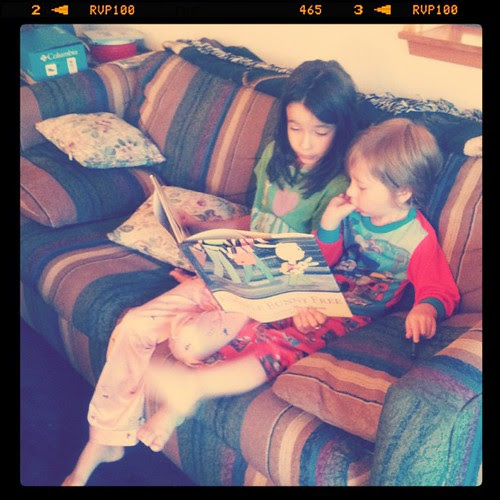 These two just slay me (R reading to D). #cousins #yayfamily