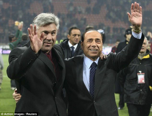 San Siro: Berlusconi is the owner of AC Milan, pictured here with former maanger Carlo Ancelotti in 2007