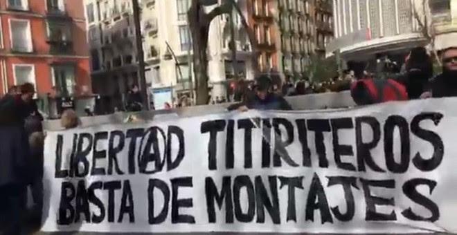 Imagen de la protesta de este domingo en la plaza Tirso de Molina (Madrid)