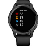 Garmin - Venu Smartwatch 43mm Fiber-Reinforced Polymer - Black With Silicone Band
