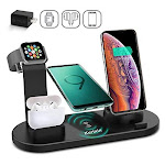 Kertxin Wireless Charger Stand,4 in 1 Wireless Charging Station Dock with USB for Apple Watch iWatch 5 4 3 2 1, Airpods,iPhone 11 11 Pro X Xs XR Max 8