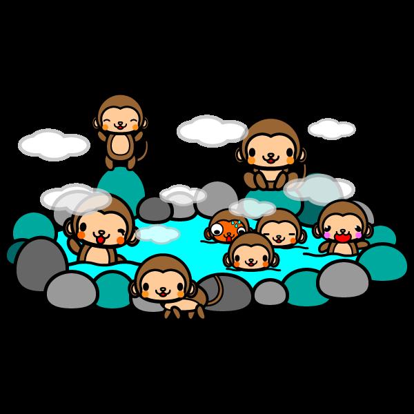 かわいい猿の温泉の無料イラスト商用フリー オイデ43