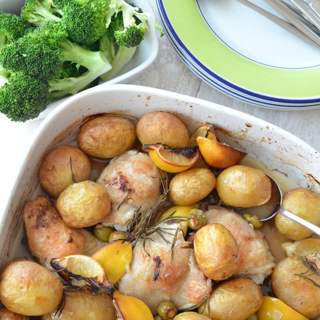 Summer Roast Chicken with Lemon and Olives