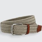 Boca Braided Waxed Cotton Stretch Belt - Khaki