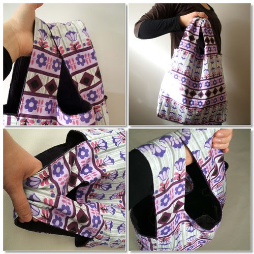 Reversible purple daisy market tote bag