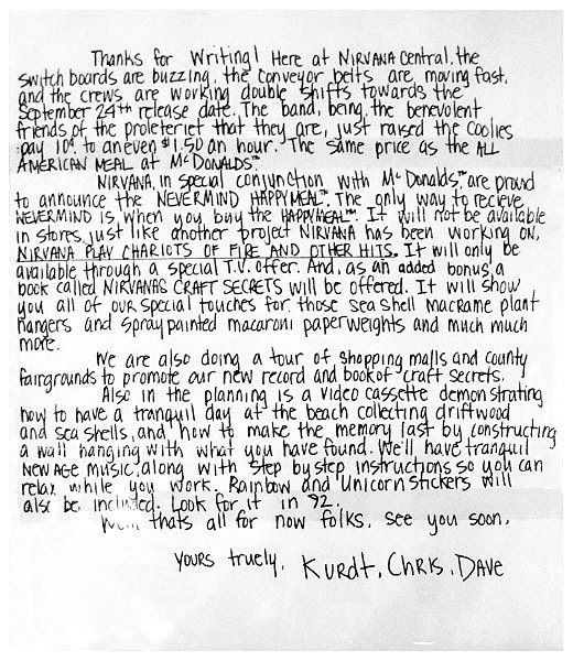 Nirvana's Hilarious Newsletter from 1991 - Big Whiz Bang