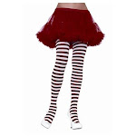 Plus Size Stripe Tights White and Red / Women 3X/4X