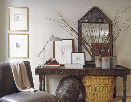 Light gray living room + wood accents: Pratt & Lambert 'Pearl White'