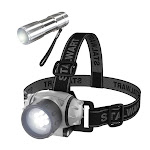 Stalwart 75-SP139 LED Headlamp Adjustable Headband & Flashlight Set - Black Gray & Silver