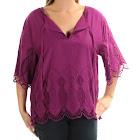 Ralph Lauren Womens Purple Lace Bell Sleeve V Neck Top