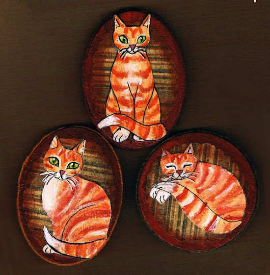 Hand Painted Orange Tabby Cat Magnet Set Mixed by KimbasCritters