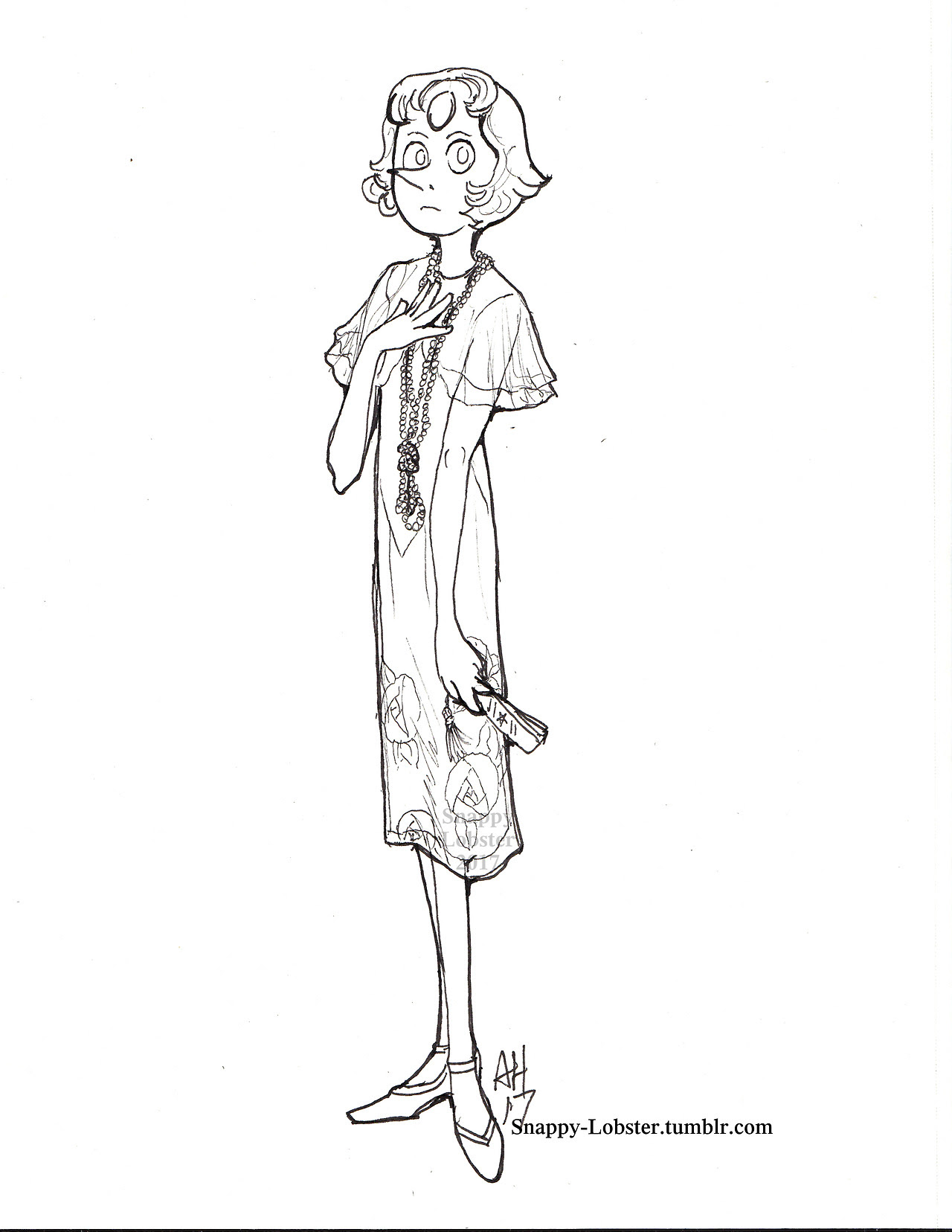 I did some line art and I was not disappointed in myself This is going to be part of a series of the Gems in period dress- Pearl is the 1920′s If anyone wants to color this, let me know- I don't know...