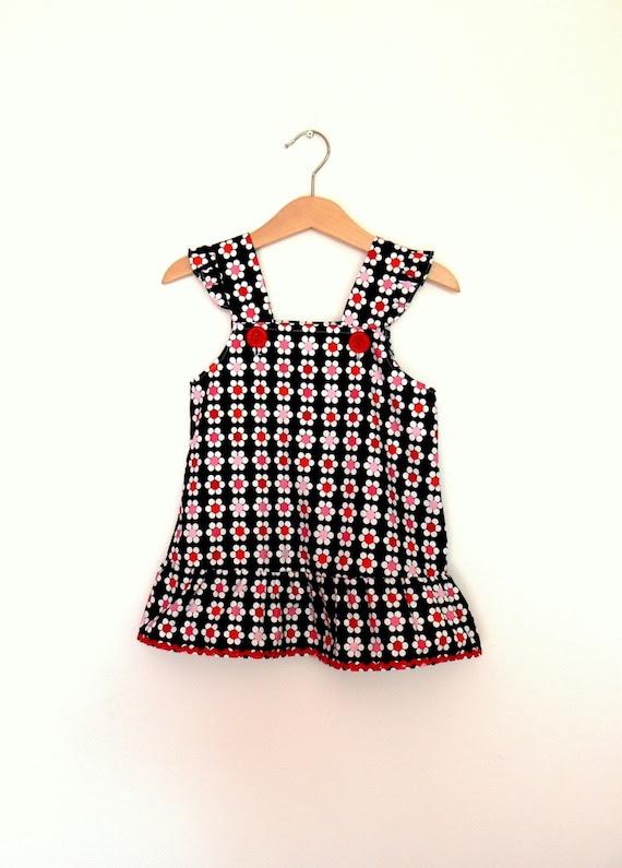 Baby girl dress, little girl dress, toddler dress, black, red, flowers