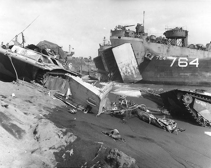 LST-764 unloading on an Iwo Jima beach, circa late Feb 1945