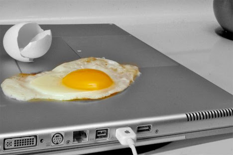 fry an egg on laptop
