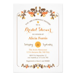 Elegant Fall Leaves and Acorn Decor Bridal Shower