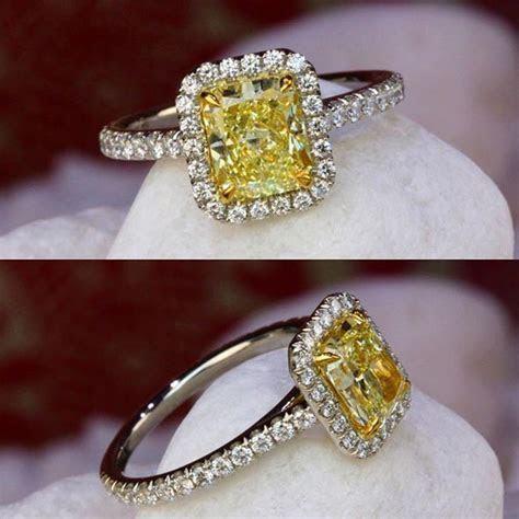 Yellow Diamond Halo Ring by David Klass Jewelry   David