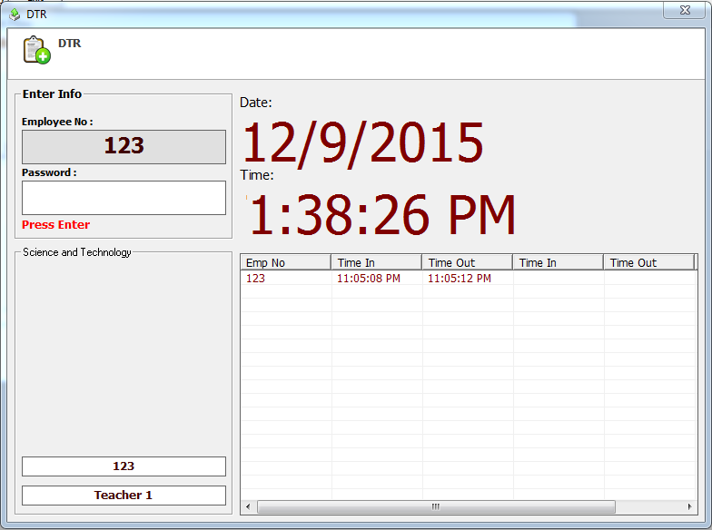 Daily Time Record System in Visual Basic   iNetTutor.com