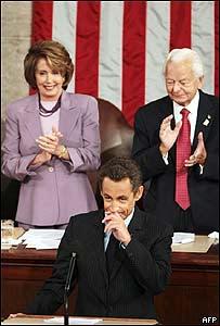 Nicolás Sarkozy durante su intervención en el Congreso de EE.UU.