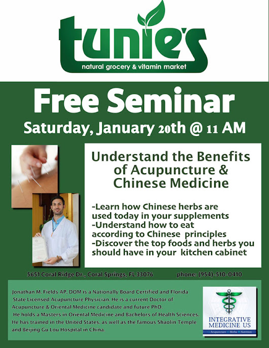 Parkland Acupuncture Chinese Medicine Seminar at Tunies