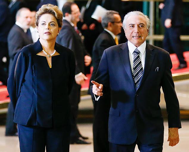 BRASILIA, DF, BRASIL, 19-08-2015, 20h00: A Presidente Dilma Rousseff, acompanhada do vice Michel Temer, recebe a chanceler alemã Angela Merkel, que inicia visita oficial ao Brasil, no Palácio da Alvorada. (Foto: Pedro Ladeira/Folhapress, PODER)