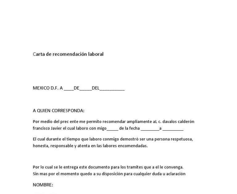 carta de recomendacion vecinal