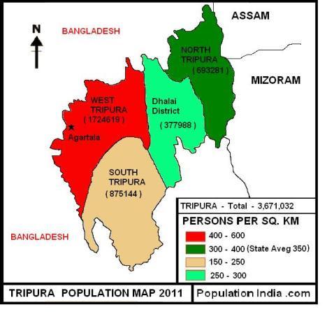 tripura, tripura map, population of tripura, tripura districts, population of tripura 2011