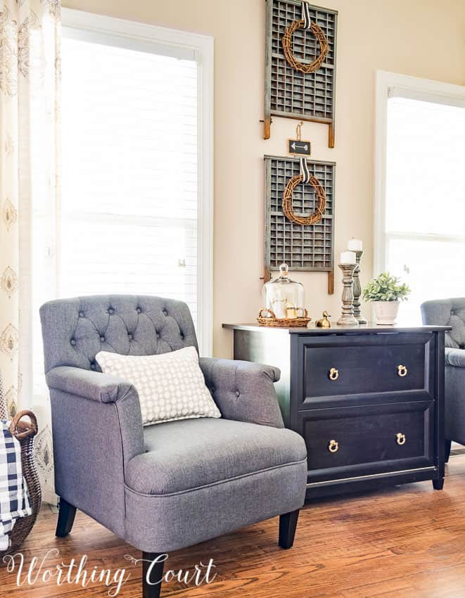 Gray office chairs and vintage printer's trays for a farmhouse office || Worthing Court