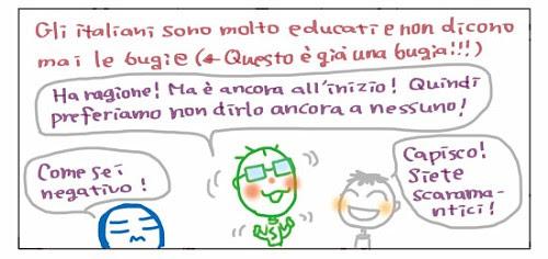 Gli italiani sono molto educati e non dicono mai le bugie… (<-Questa è già una bugia!!!) Ha ragione! Ma è ancora all'inizio! Quindi preferiamo non dirlo ancora a nessuno! Come sei negativo! Capisco! Siete scaramantici!