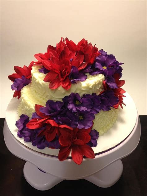 Red And Purple Flower Cake   CakeCentral.com