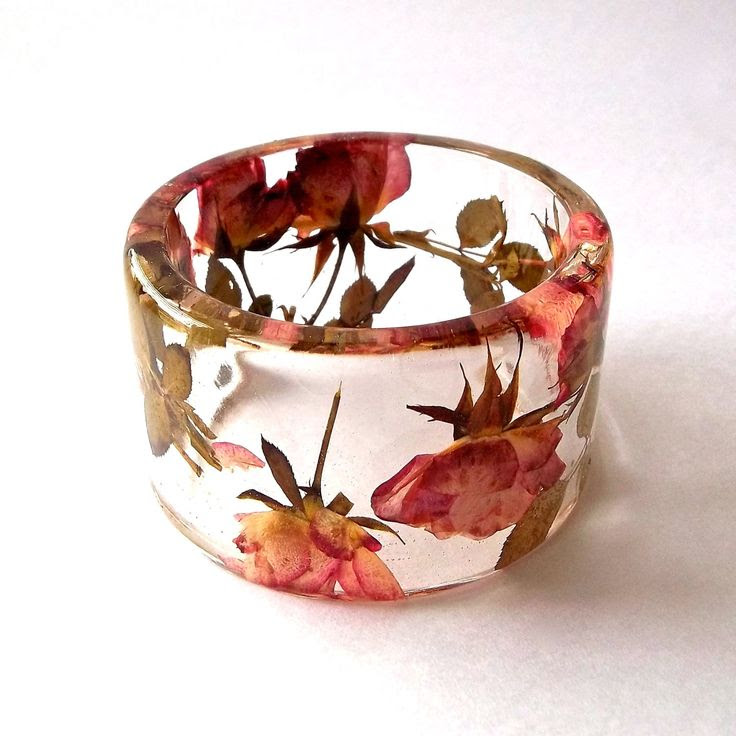 Bangle | Summer Smith. Pressed pink and yellow roses that are encased in resin.