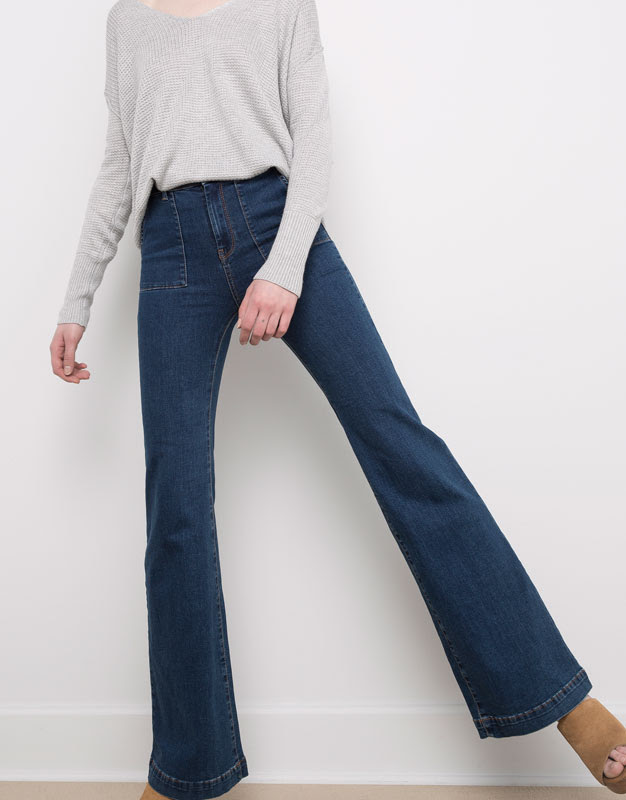 Pull&Bear - mujer - jeans - jeans acampanado elástico bolsillo plastrón - azul oscuro - 09684319-V2016