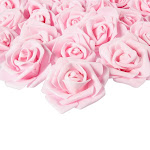 Rose Flower Heads - 100-Pack Artificial Roses, Perfect Wedding Decorations, Baby Showers, Crafts - Light Pink, 3 X 1.25 X 3 Inches