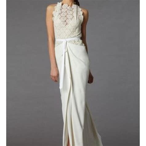 Roland Mouret Ivory & Offwhite Silk Crepe Cotton Lace