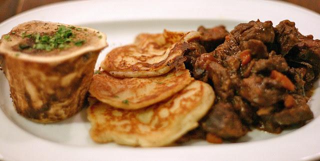 Beef Shin, Bone Marrow, Potato Cakes