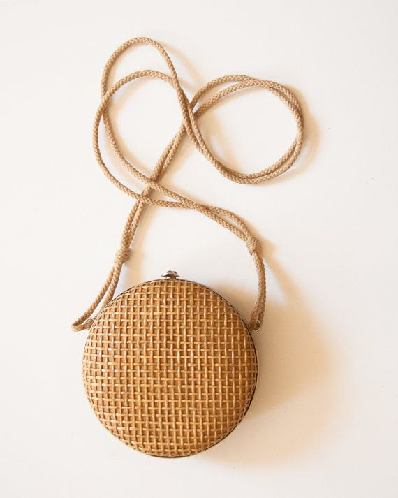 Unique VIntage Round Woven Straw Frame Bag by lastprizevintage,