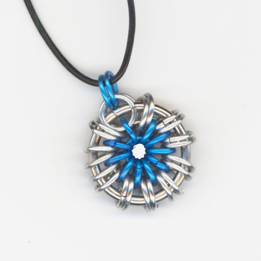 Blue and Silver Pendant Leather Cord Necklace Your Color by Lehane